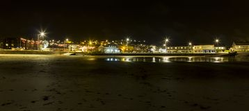 Perranporth Town By The Beach On a Misty Night royalty free stock image