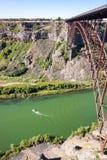 Perrine Bridge över Snake River, i morgonen, Idaho arkivbild