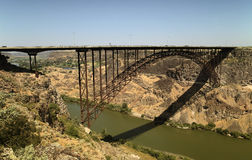 Perrine Bridge, Idaho. The spectacular arched trussed I. B. Perrine bridge crossing the Snake River at Twin Falls, Idaho (USA).  Popular bridge for jump Royalty Free Stock Image
