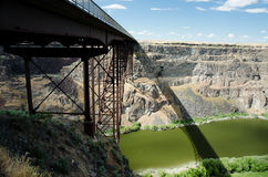 Perrine Bridge and Shadow. Popular base jumping bridge and shadow over river Stock Photo