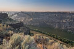 Perrine Bridge Spans The Canyon Above The Snake River Stock Image