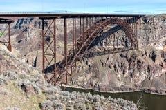 Perrine Memorial Bridge Snake River kanjon, Idaho Arkivbilder