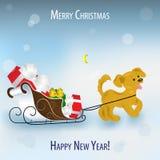 Perrito amarillo divertido, un símbolo de 2018 que tira de un trineo por completo ilustración del vector