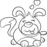 Perrito blanco y negro lindo de Kawaii, contorno, con los corazones por encima, en contorno, para el libro de colorear, o la tarj stock de ilustración