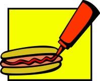 Perrito caliente con la salsa de tomate libre illustration