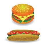 Perrito caliente y hamburguesa Fotos de archivo