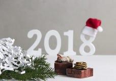 Perrito del perro del Año Nuevo de la Navidad que duerme en la caja con el regalo cerca de abeto Fotografía de archivo libre de regalías