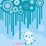 Perrito del trapo en lluvia stock de ilustración