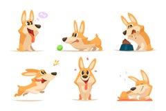 Perrito divertido de la historieta linda Animal del vector Perro en diversas actitudes de la acción Imagen de archivo libre de regalías