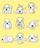 Perrito lindo con 9 diversas acciones stock de ilustración