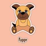 Perrito lindo, perro, etiqueta engomada de la historieta, animal divertido, dibujo del ` s del niño, libre illustration