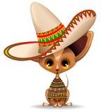 Perrito minúsculo lindo de la chihuahua con el ejemplo mexicano del vector del sombrero stock de ilustración