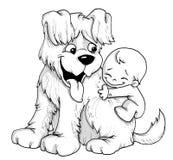Perrito y bebé ilustración del vector