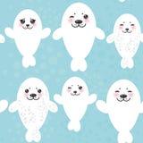 Perritos blancos divertidos del lobo marino del modelo inconsútil, lindos Imagen de archivo libre de regalías