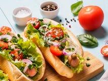 Perritos calientes hechos en casa con las salchichas del pollo y las verduras frescas Foto de archivo libre de regalías