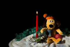 Perro amarillo con la vela de la Navidad foto de archivo