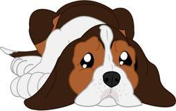 Perro basset lindo de la historieta a acostarse libre illustration