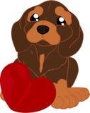 Perro basset lindo de la historieta con el corazón ilustración del vector