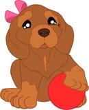 Perro basset lindo de la historieta con la bola stock de ilustración