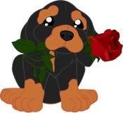 Perro basset lindo de la historieta con la flor stock de ilustración