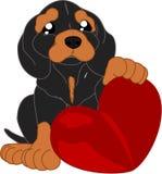 Perro basset lindo de la historieta y un corazón stock de ilustración