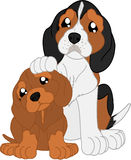 Perro basset y beagle de la historieta stock de ilustración