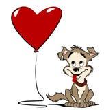 Perro con el globo del corazón fotografía de archivo libre de regalías