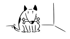 Perro con la cola que menea del hueso
