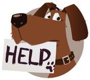 Perro con la muestra de la ayuda Fotos de archivo libres de regalías