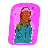 Perro con los auriculares que escucha la música Imagen de archivo