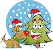 Perro con un árbol de pino libre illustration
