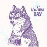 Perro con una cámara stock de ilustración