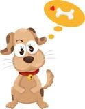 Perro con vector del hueso stock de ilustración
