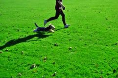 Perro corriente con la muchacha Fotografía de archivo libre de regalías