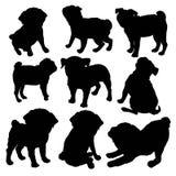 Perro criado en línea pura del barro amasado que se sienta en vista lateral con la sombra - silueta del vector aislada imagen de archivo