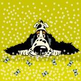 Perro de aguas de la historieta en prado stock de ilustración