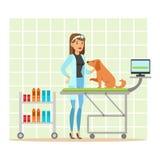 Perro de examen del doctor veterinario alegre en clínica del veterinario Ejemplo colorido del personaje de dibujos animados Imagenes de archivo