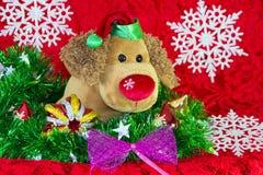 perro de juguete del Año Nuevo rodeado por los elementos de la Navidad y las ramas decorativos del abeto en fondo rojo Imágenes de archivo libres de regalías
