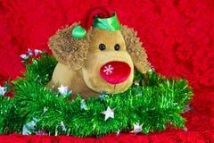 perro de juguete del Año Nuevo rodeado por los elementos de la Navidad y las ramas decorativos del abeto en fondo rojo Imagenes de archivo