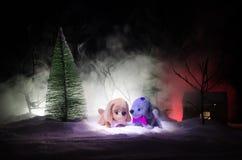 Perro de juguete - un símbolo del Año Nuevo debajo de la nieve contra la perspectiva del abeto ramifica El perro de juguete como  Imagenes de archivo