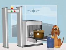 Perro de la droga en aeropuerto Foto de archivo