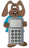 Perro de la historieta con el teléfono celular Imágenes de archivo libres de regalías