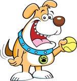 Perro de la historieta con una bola. ilustración del vector