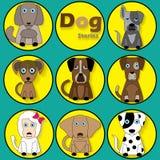 Perro de la historieta del color en círculo amarillo libre illustration