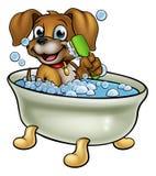 Perro de la historieta en el baño Foto de archivo