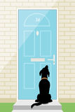 Perro de la puerta stock de ilustración