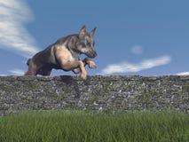 Perro de pastor alemán que salta - 3D rinden Fotos de archivo