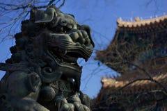 Perro de piedra budista del templo del lama de China de Pekín fotos de archivo
