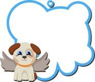 Perro del ángel con el tablero y un deseo Mensaje de la tarjeta del día de San Valentín Foto de archivo libre de regalías
