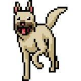 Perro del arte del pixel del vector amistoso Foto de archivo libre de regalías